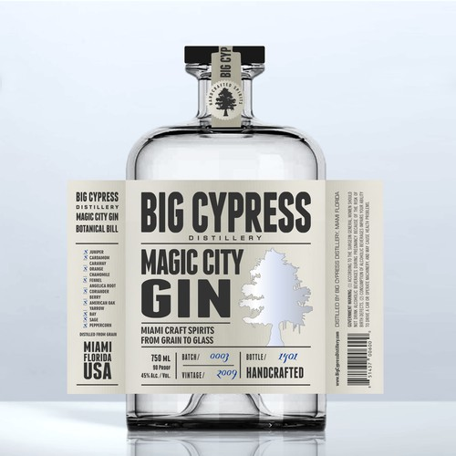 Gin label with the title 'GIN Big Cipress'