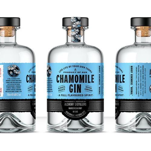 Small-batch design with the title ' Craft gin label re-design and refresh'