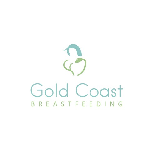 Baby and heart logo with the title 'Breastfeeding clinic logo'