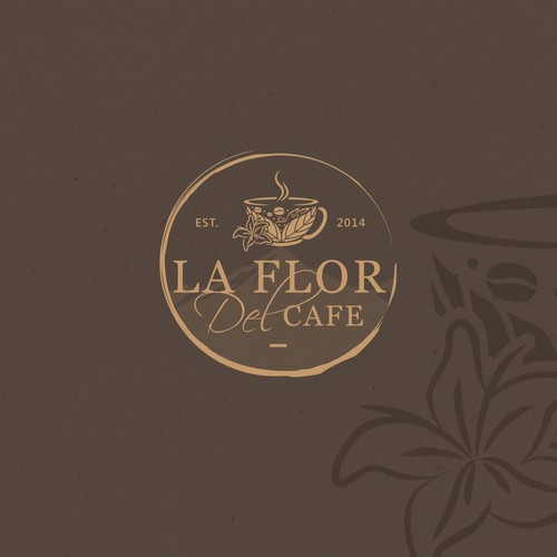 Coffee brand logo with the title 'La Flor Del Cafe (The Coffee's Flower)'