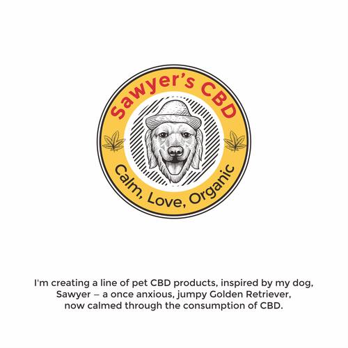 Golden retriever logo with the title 'sawyer's CBD'