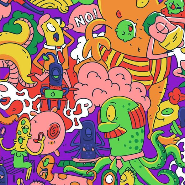Monster artwork with the title 'alien pattern design'