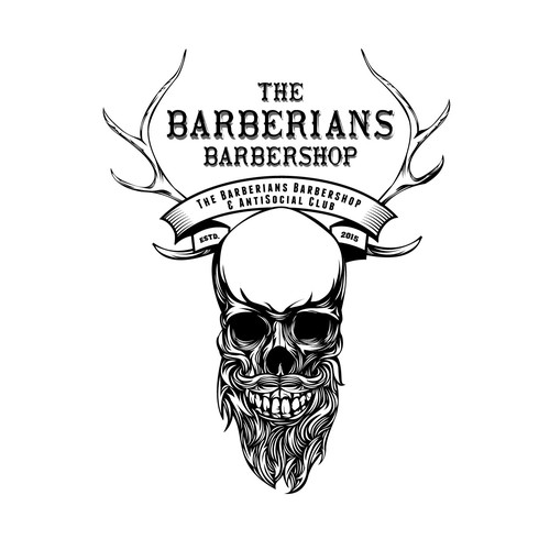 Barbershop logo with the title 'Barberians Barbershop'