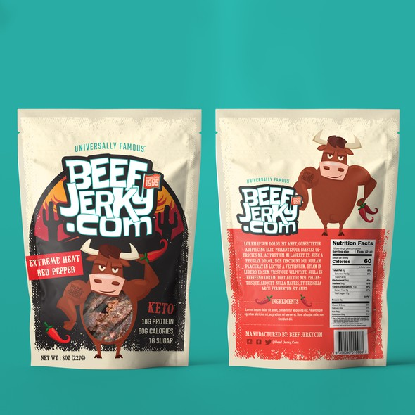 Keto packaging with the title 'Beef Jerky Packaging'