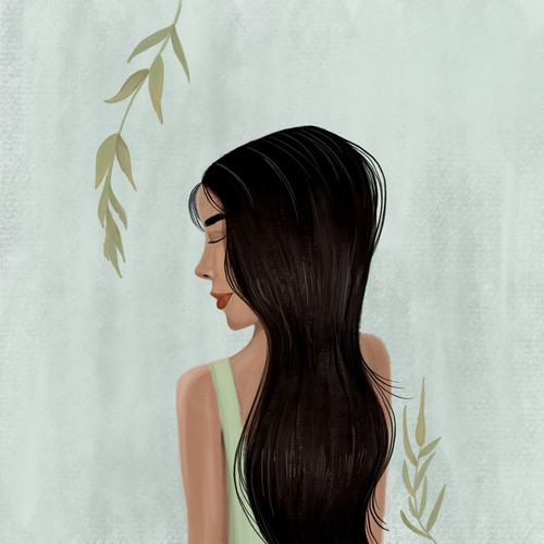 Girl illustration with the title 'Haircut illustration for a beauty app'