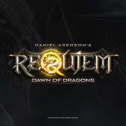 Dragon logo with the title 'Requiem Down of Dragons Book Logo'