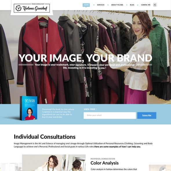 Concept website with the title 'Yelena Ganshof Landing Page'