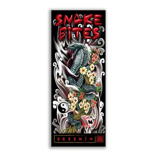 CMYK design with the title 'Snake Bites'