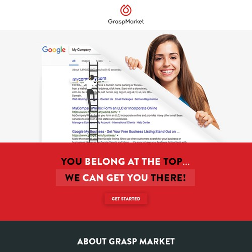 SEO design with the title 'Email Template for a SEO Specialist Using Google'