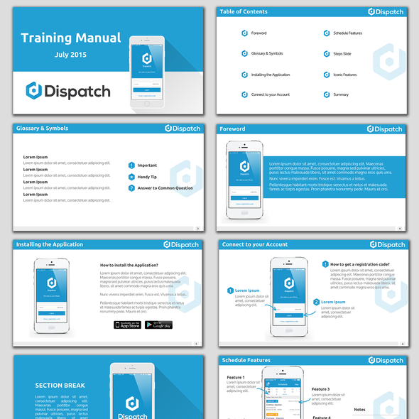 Desktop design with the title 'A Training Manual for a Mobile App'