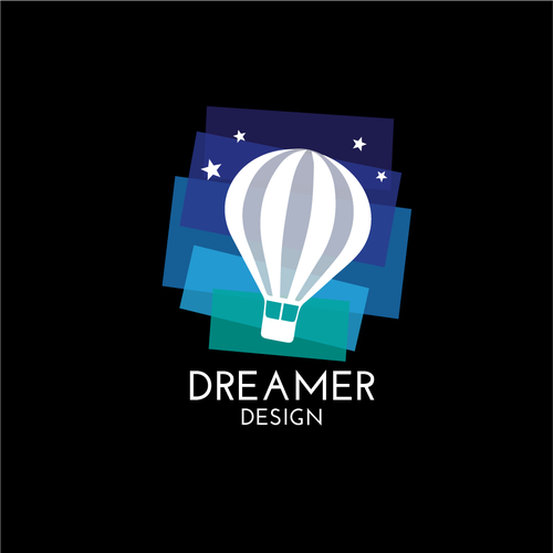 Hot air balloon logo with the title 'Colourful logo design '
