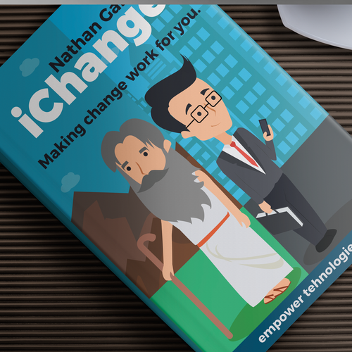 Technology book cover with the title 'iChange front book illustration'