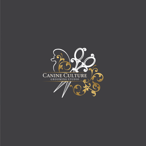 Ornamental logo with the title 'Elegant logo design for grooming studio'