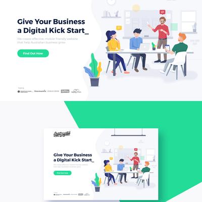 Landing page illustration for web design agency
