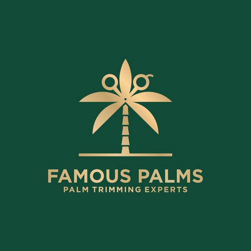 Palm tree logo with the title 'Palm Cutting Logo'