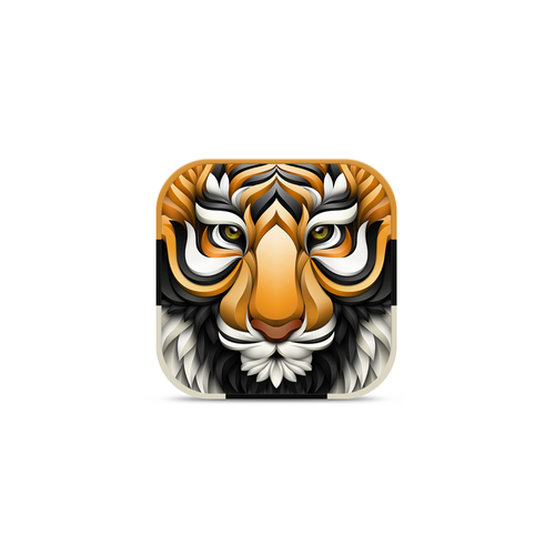 Tiger design with the title '3D Tiger for Fitness App'