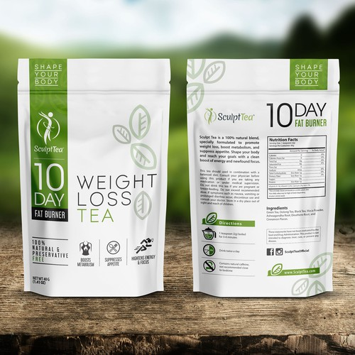 Diet design with the title 'Create An Iconic Package To Shape The Wellness Tea Industry'