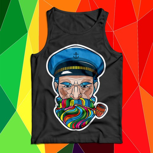 Sailor design with the title 'Old Sailor Captain'