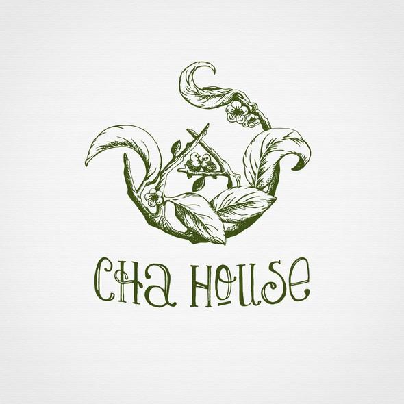 Teapot design with the title 'Hand drawn logo for tea house.'