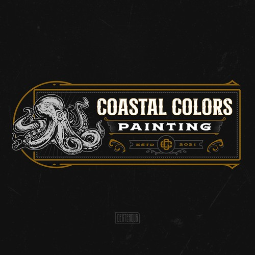 Octopus design with the title 'Coastal Colors Painting Logo'