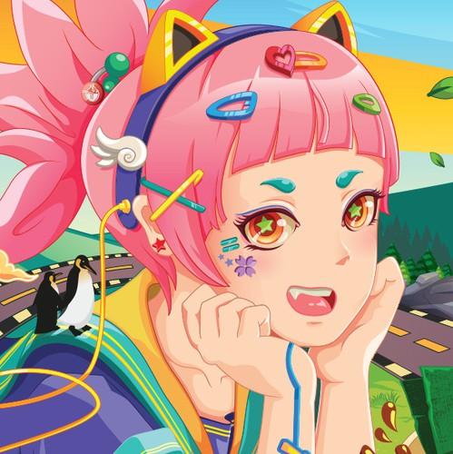 Anime design with the title 'Wall Art/Mural Illustration : Romi's Ramen & Boba Tea Restaurant'