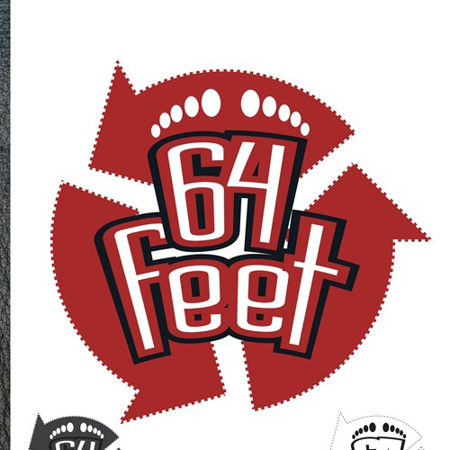 Embossed logo with the title 'Help 64 Feet with a new logo'