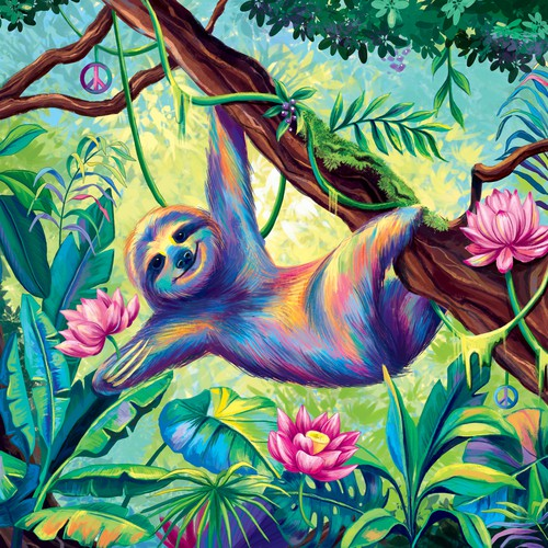 Tropical design with the title 'A colorful sloth illustration'