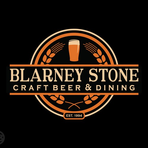 Restaurant logo with the title 'The Blarney Stone Pub'
