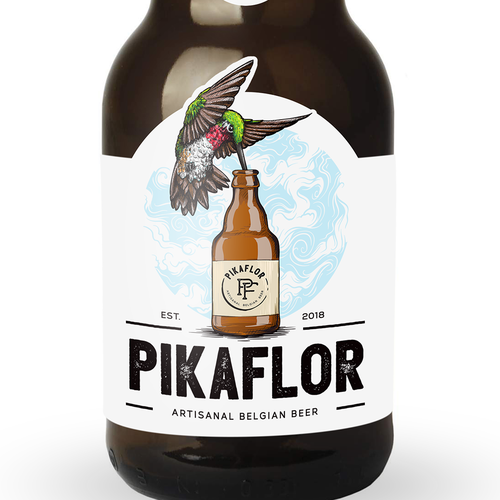 Hummingbird design with the title 'PIKAFLOR Artisanal Belgian Beer'
