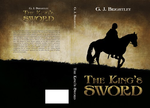 Rider design with the title 'The King's Sword Book Cover'