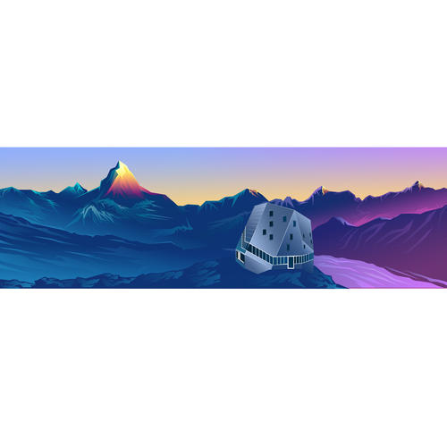 Low poly design with the title 'Low Poly Illustration Monte Rosa Hut and The Matterhorn'