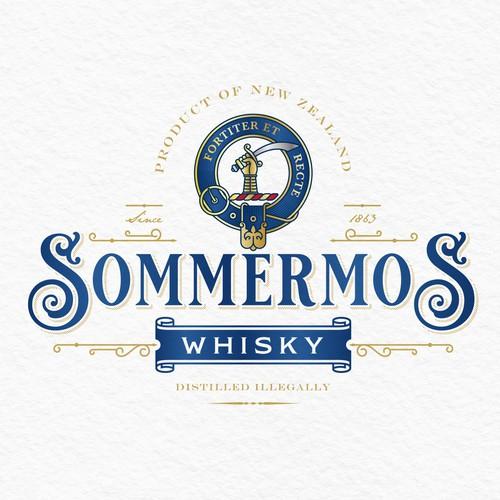 Retro design with the title 'Whisky Brand Logo Design'