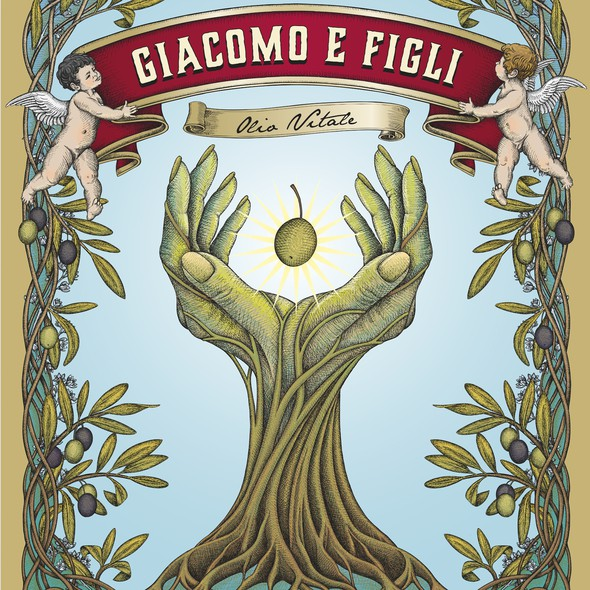 """Tree label with the title 'Set of labels for a high quality olive oil """"Olio Vitale"""" crafted by Giacomo & Figli.'"""