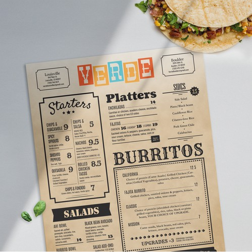 Vintage design with the title 'Western style menu'