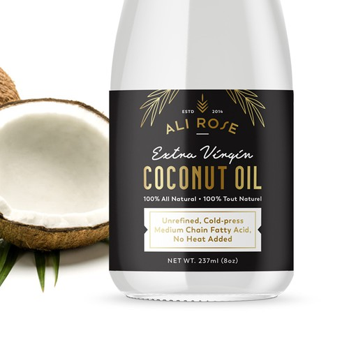 Gold label with the title 'Logo and label for coconut oil'