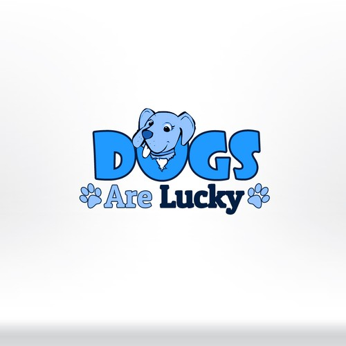 Lucky logo with the title 'Dogs are lucky'