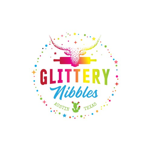 Glitter design with the title 'F&D Logo Glittery Nibbles'