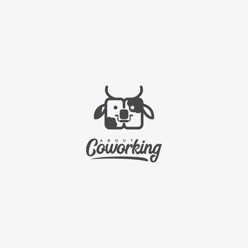 Coworking logo with the title 'cow work king'