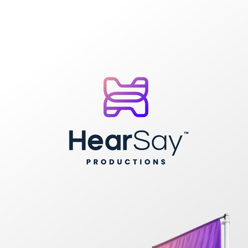 Red and purple design with the title 'HearSay Productions'