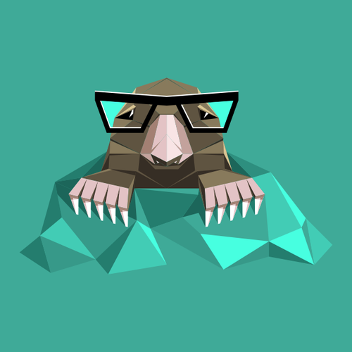 Origami design with the title 'Origami mole with eyeglasses'