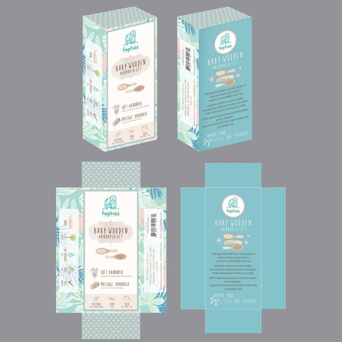 Watercolor packaging with the title 'Baby product label design'