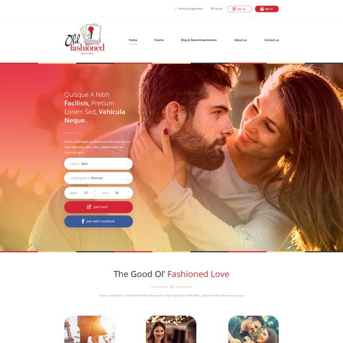 Red website with the title 'Old Fashioned Dating'