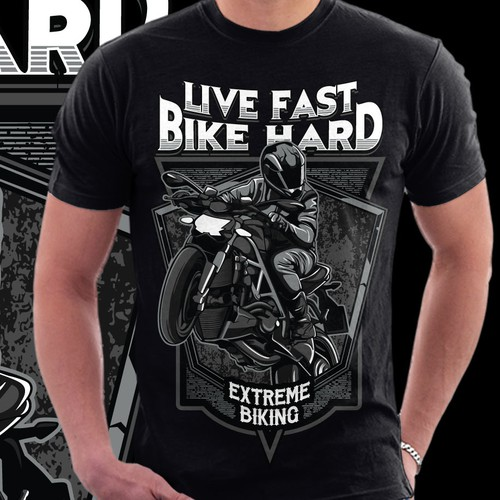 Bike t-shirt with the title 'Live Fast - Bike Hard'