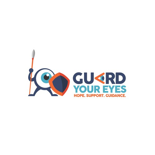 Spear design with the title 'Logo and character design for Guard your eyes'
