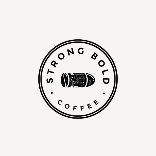 Stamp logo with the title 'Strong Bold Coffee Logo'