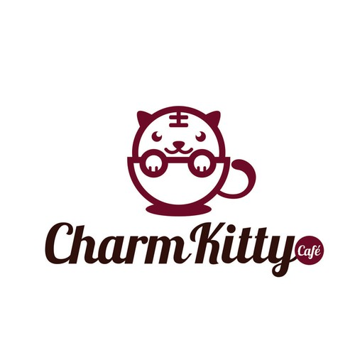 Dog paw logo with the title 'Charm Kitty Cafe'