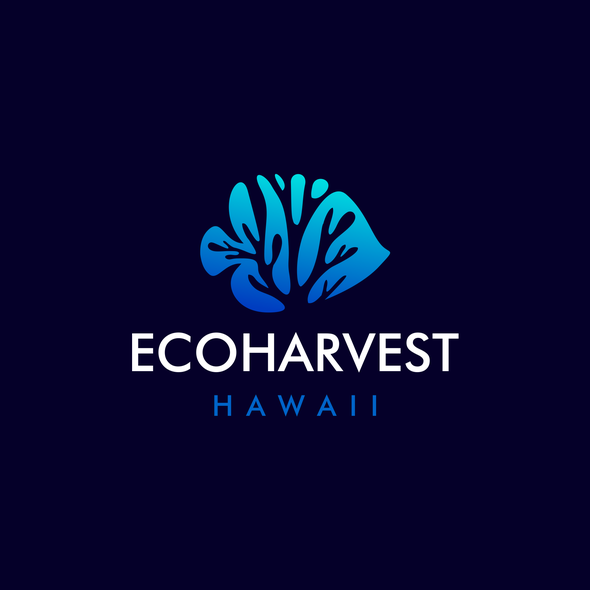 Aquarium design with the title 'EcoHarvest Hawaii | Fish Logo | Fishing Logo | Coral Logo | Reefs Logo | Aquarium Logo'
