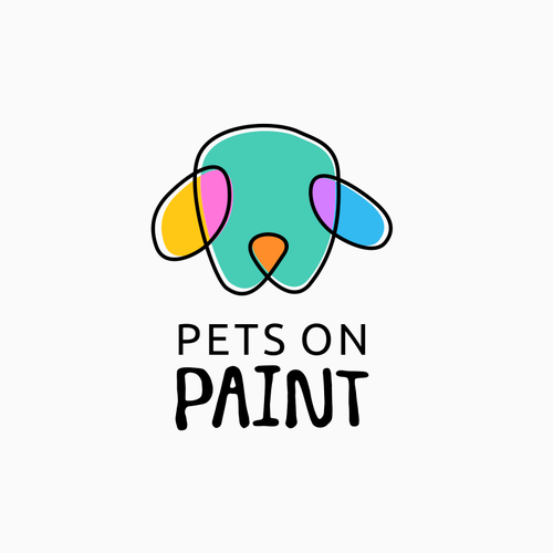 Logo with the title 'PETS ON PAINT'