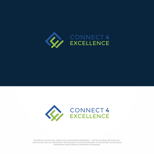 Excellence logo with the title 'Create a strong logo to connect with people'
