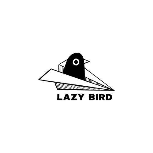 Hand-drawn logo with the title 'Lazy Bird logo'